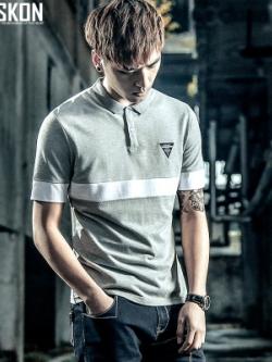 เสื้อโปโลแขนสั้นเกาหลี แต่งแถบเส้นคาด เท่มาก มี2สี