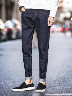 กางเกงยีนส์ขายาวเกาหลี เนื้อผ้าหนา ดีไซน์เท่ มี2สี