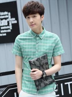 เสื้อเชิ้ตแขนสั้นเกาหลี แต่งลายสก๊อต ดีไซน์แถบเส้นคาด มี3สี