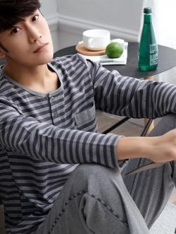 ชุดนอนเกาหลี แต่งลายขวาง เสื้อแขนยาว+กางเกงขายาว