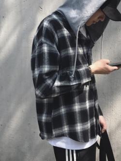 เสื้อเชิ้ตแขนยาวเกาหลี ลายตารางสก็อต แต่งฮู้ด ดีไซน์เท่