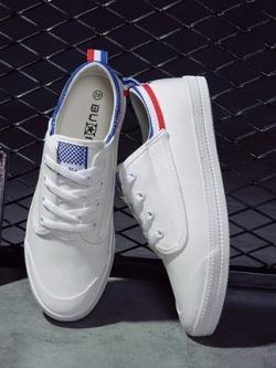 รองเท้าผ้าใบเกาหลี แต่งขอบสวย แนวโมเดิร์น มี3สี