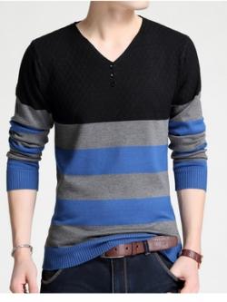 เสื้อแฟชั่นแขนยาวเกาหลี คอV แต่งลายแถบสลับสี มี3สี