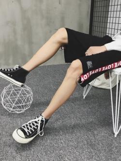 กางเกงขาสั้นเกาหลี แต่งแถบตัวอักษรด้านข้าง มี2สี
