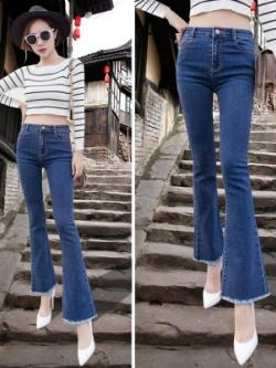 กางเกงยีนส์ขายาวเกาหลี สีน้ำเงิน แต่งปลายขาบาน เซ็กซี่