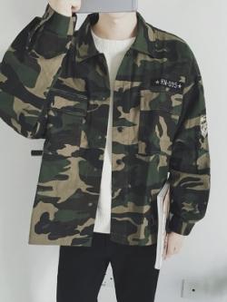 เสื้อแจ็คเก็ตแนวเบสบอล สีเขียวลายพรางทหาร