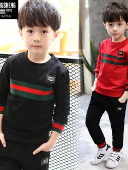 ชุดเซทเด็กเกาหลี แต่งแถบสีคาด เสื้อ+กางเกง มี4สี