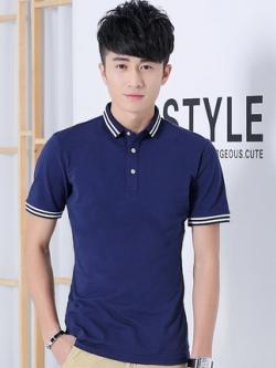 เสื้อโปโลแขนสั้นเกาหลี เรียบสวย แต่งแถบ มี4สี