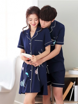 ชุดนอนคู่รักเกาหลี เสื้อคอปกแขนสั้น+กางเกงขาสั้น มี2แบบ