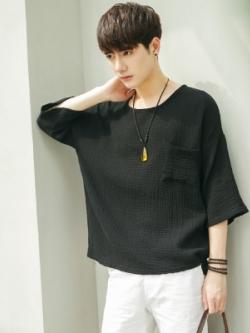เสื้อแฟชั่นแขนห้าส่วนเกาหลี ทรงหลวม แต่งกระเป๋าเสื้อ มี2สี