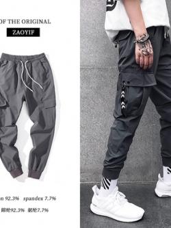 กางเกงลำลองขายาวเกาหลี จั้มปลายขา แต่งกระเป๋าด้านข้าง มี2สี