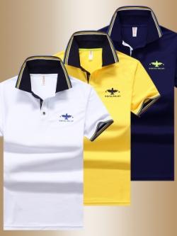 เสื้อโปโลแขนสั้นเกาหลี ดีไซน์โลโก้ แต่งขอบ มี3สี