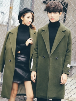 เสื้อโค้ทตัวยาวคู่รักเกาหลี แต่งคอปกสูท มีซับใน มี2สี