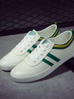 รองเท้าผ้าใบเกาหลี แต่งขอบสวย ดีไซน์แถบด้านข้าง มี3สี