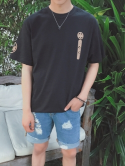 เสื้อยืดแขนสั้นเกาหลี พิมพ์ลาย ดีไซน์แนวญี่ปุ่น มี2สี