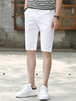 กางเกงขาสั้นเกาหลี แต่งแถบขอบเอว ดีไซน์เท่ มี2สี
