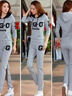 **พร้อมส่ง**ชุดวอร์มแฟชั่นเกาหลี เสื้อแขนยาวมีฮู้ด แต่งลาย EGO+กางเกงขายาว สีเทา