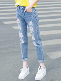 กางเกงยีนส์ขายาวเกาหลี ทรงดินสอ แต่งรุ่ยๆเซอร์ๆ มี2สี