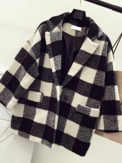 เสื้อสูทแจ็คเก็ตคลุมเกาหลี ลายสก๊อต ทรงหลวม มี3สี