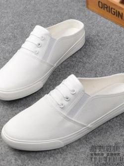 รองเท้าผ้าใบเกาหลี แบบสวม ดีไซน์ทรงต่ำ มี4สี