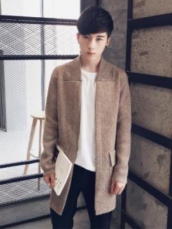 เสื้อโค้ทคลุมตัวยาวเกาหลี สีน้ำตาลอ่อน ผ้าหนานุ่ม แต่งคอปกเสื้อ