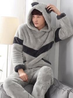 ชุดนอนฮู้ดเกาหลี ผ้ากำมะหยี่หนานุ่ม เสื้อแขนยาว+กางเกงขายาว มี2แบบ