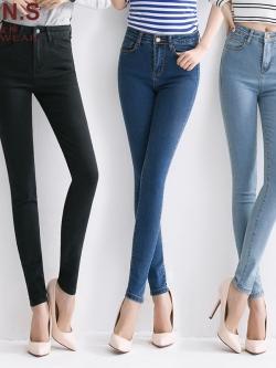 กางเกงยีนส์ขายาวเอวสูงทรงดินสอ