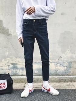 กางเกงยีนส์ขายาวเกาหลี สีน้ำเงินเข้ม ทรงSlim