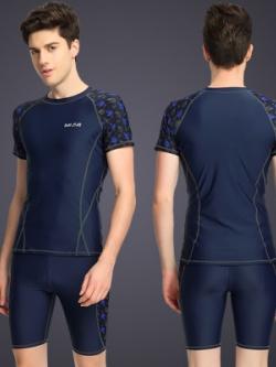 ชุดว่ายน้ำสีน้ำเงินเข้มเกาหลี แต่งลาย เสื้อแขนสั้น+กางเกงขาสั้น
