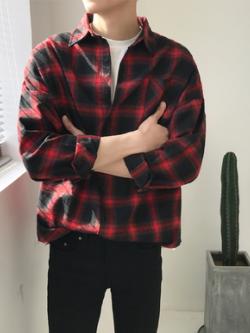 เสื้อเชิ้ตแขนยาวลายสก็อตเกาหลี แนวฮาราจูกุ ทรงหลวม มี3สี