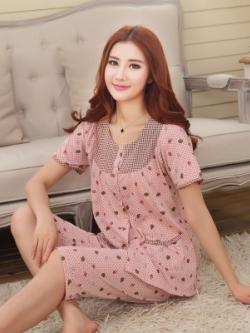ชุดนอนเกาหลี พิมพ์ลายน่ารัก เสื้อแขนสั้น+กางเกงขาสั้น มี3สี