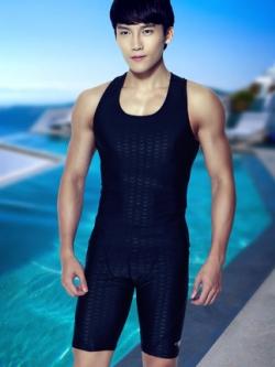 ชุดว่ายน้ำสีดำเกาหลี แต่งลายคลื่นทั้งตัว เสื้อกล้าม+กางเกงขาสั้น