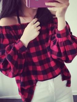 เสื้อแฟชั่นแขนยาวเกาหลี สีแดงลายตารางสก็อต ยางยืดที่อก
