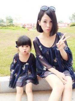 ชุดครอบครัวเซท2ชุด สีน้ำเงิน เสื้อซีฟองแฟชั่นแต่งลายผีเสื้อ+เสื้อกล้าม