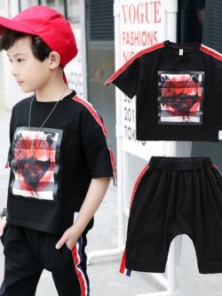 เสื้อเซทเด็กเข้าชุดเกาหลี แนวเบสบอล เสื้อ+กางเกง มี2สี