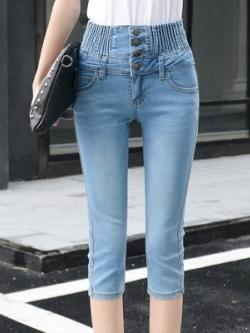 กางเกงยีนส์ขาสามส่วนเกาหลี เอวสูงยางยืด แต่งกระดุมแถวเดียว มี2สี