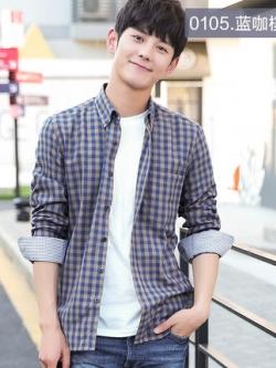 เสื้อเชิ้ตแขนยาวเกาหลี ลายสก๊อต สีสันสดใส มี25แบบ
