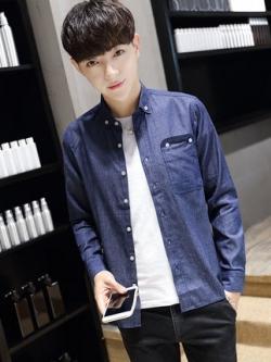 เสื้อเชิ้ตแขนยาวเกาหลี สไตล์ยีนส์ แต่งกระเป๋าเสื้อ มี2สี