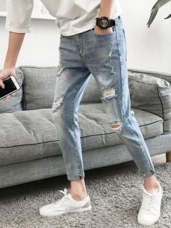 กางเกงยีนส์ขายาวเกาหลี สีฟ้าซีด ทรงSlim แต่งรอยขาด
