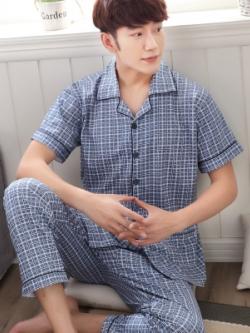 ชุดนอนเกาหลี สีตามรูป พิมพ์ลายตารางแนววินเทจ เสื้อแขนสั้น+กางเกงขายาว