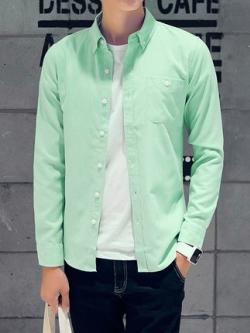 เสื้อเชิ้ตแขนยาวเกาหลี แต่งกระเป๋าเสื้อ แนวลำลอง ทรงสลิม มี5สี