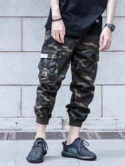 กางเกงขายาวฮาเร็มญี่ปุ่น แต่งกระเป๋ากางเกง จั้มปลายขา มี2สี
