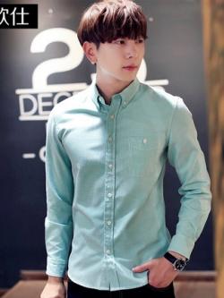 เสื้อเชิ้ตแขนยาวเกาหลี แนวลำลอง แต่งกระเป๋าเสื้อ มี8สี