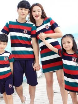 ชุดครอบครัวเซท4ชุด แต่งลายขวางสลับสี เสื้อตัวยาว+เสื้อยืดแขนสั้น+กางเกง มี2สี