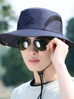 หมวกปีกกว้างเกาหลี สีน้ำเงินเข้ม ดีไซน์ลายเส้นสลิม