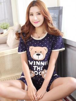ชุดนอนเกาหลี สีน้ำเงิน แต่งรูปหมี พิมพ์ลายจุด เสื้อแขนสั้น+กางเกง