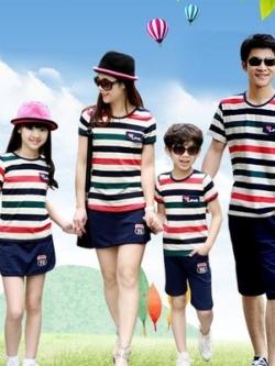ชุดครอบครัวเซท4ชุด แต่งลายขวางสลับสี เสื้อยืดแขนสั้น+กางเกง