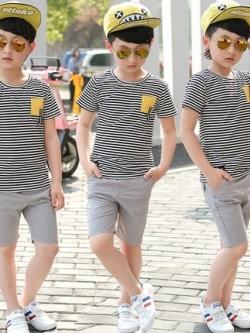 เสื้อเซทเด็กเข้าชุดเกาหลี แนวลำลอง เสื้อ+กางเกง มี3สี