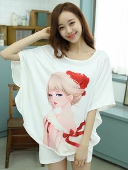 ชุดนอนเกาหลี พิมพ์ลายการ์ตูนน่ารัก ทรงหลวม เสื้อ+กางเกง มี2ลาย