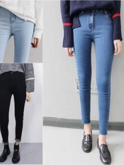 กางเกงยีนส์ขายาวเกาหลี ทรงเข้ารูป แนวสลิม มี3สี
